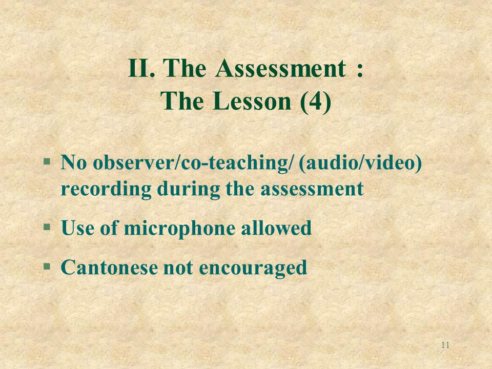 II. The Assessment : The Lesson (4)