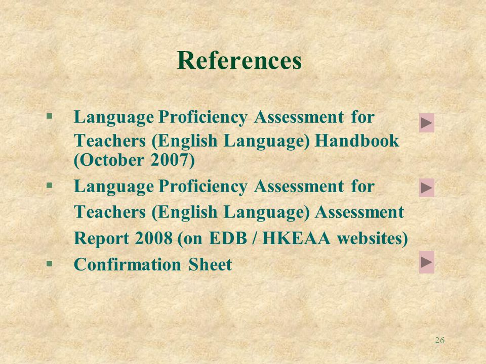 References Language Proficiency Assessment for