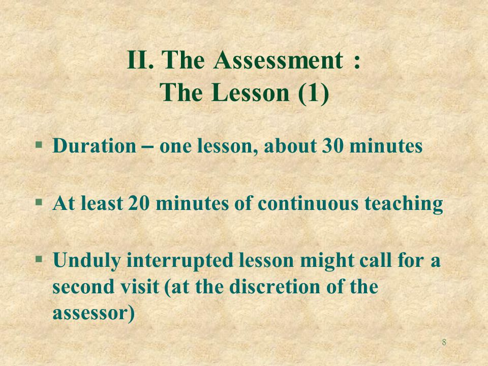 II. The Assessment : The Lesson (1)