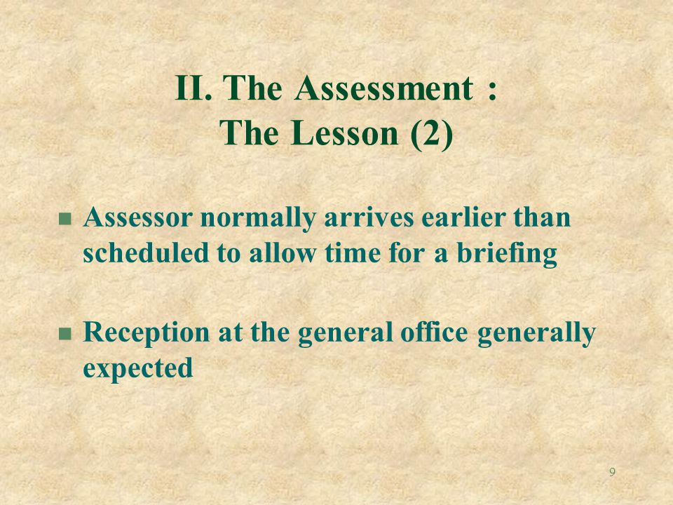 II. The Assessment : The Lesson (2)