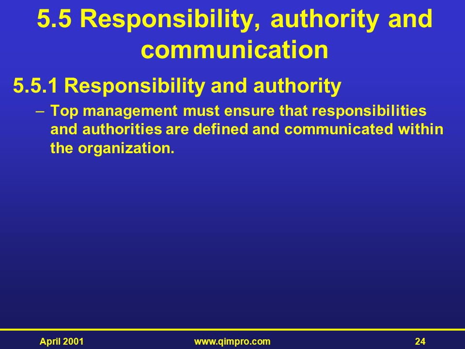 5.5 Responsibility, authority and communication