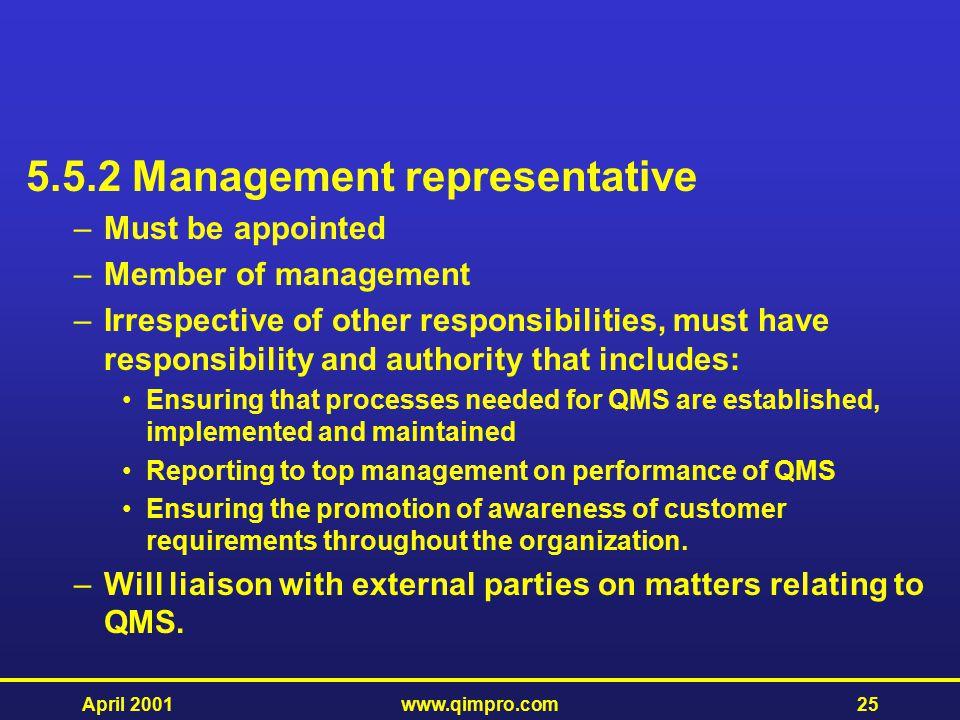 5.5.2 Management representative