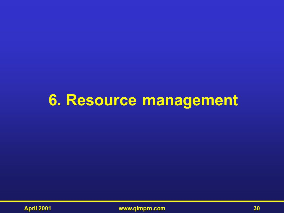 6. Resource management April 2001 www.qimpro.com