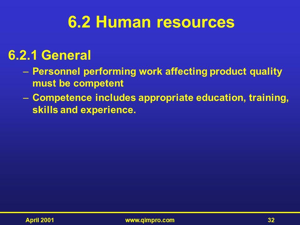 6.2 Human resources 6.2.1 General