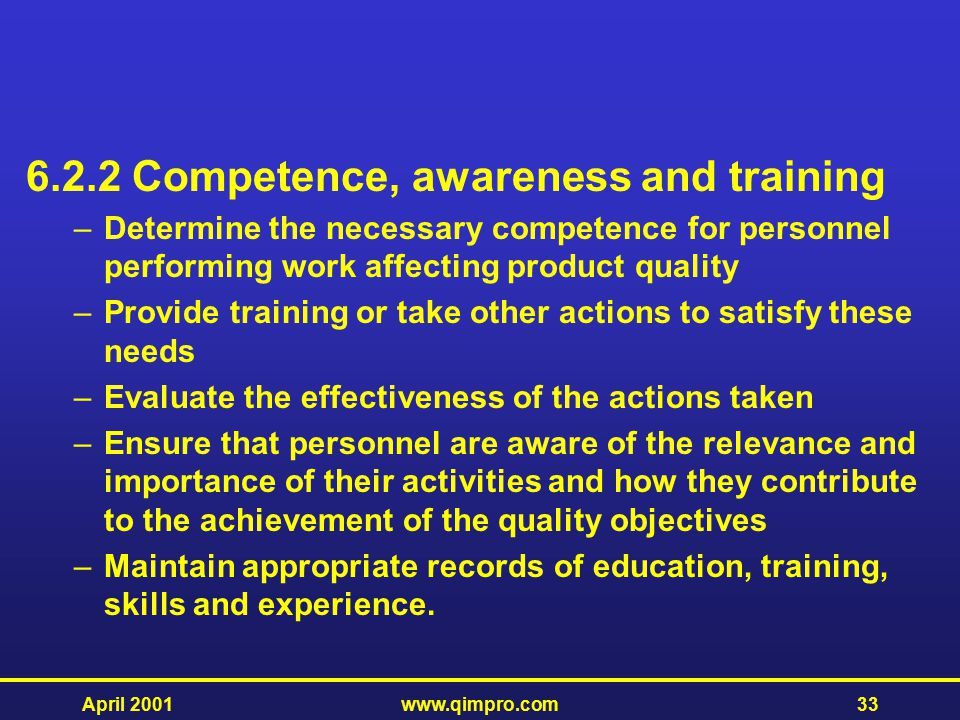 6.2.2 Competence, awareness and training
