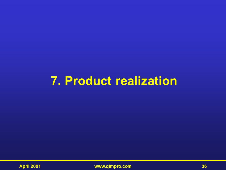 7. Product realization April