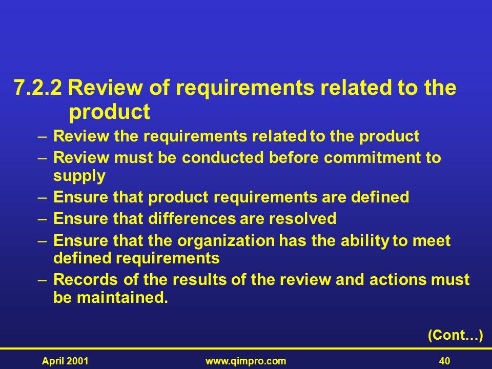 7.2.2 Review of requirements related to the product