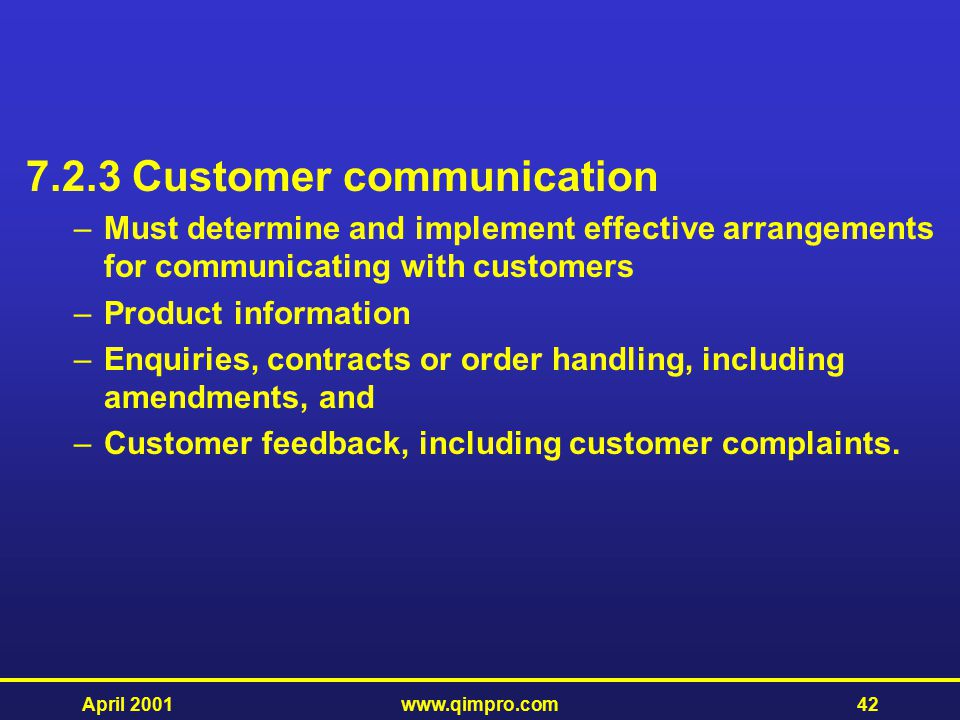 7.2.3 Customer communication