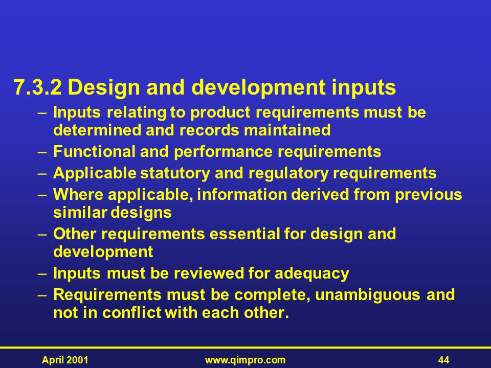 7.3.2 Design and development inputs