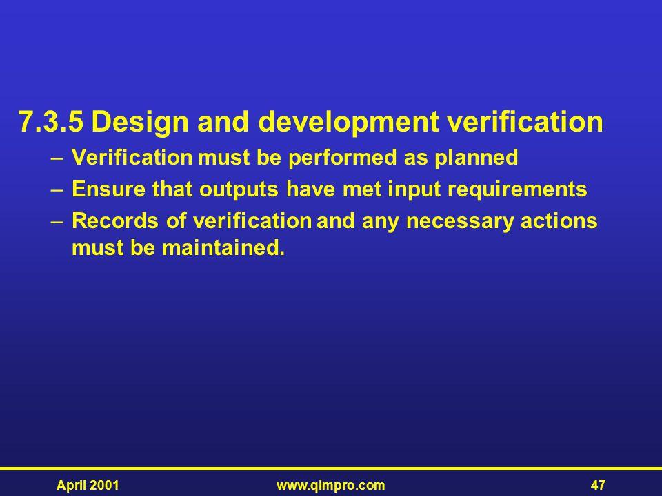 7.3.5 Design and development verification