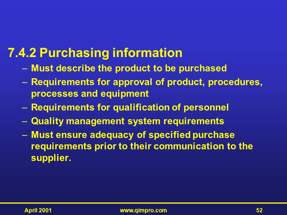 7.4.2 Purchasing information