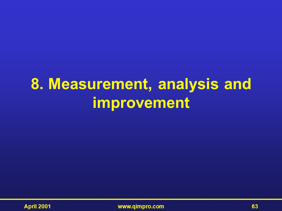 8. Measurement, analysis and improvement