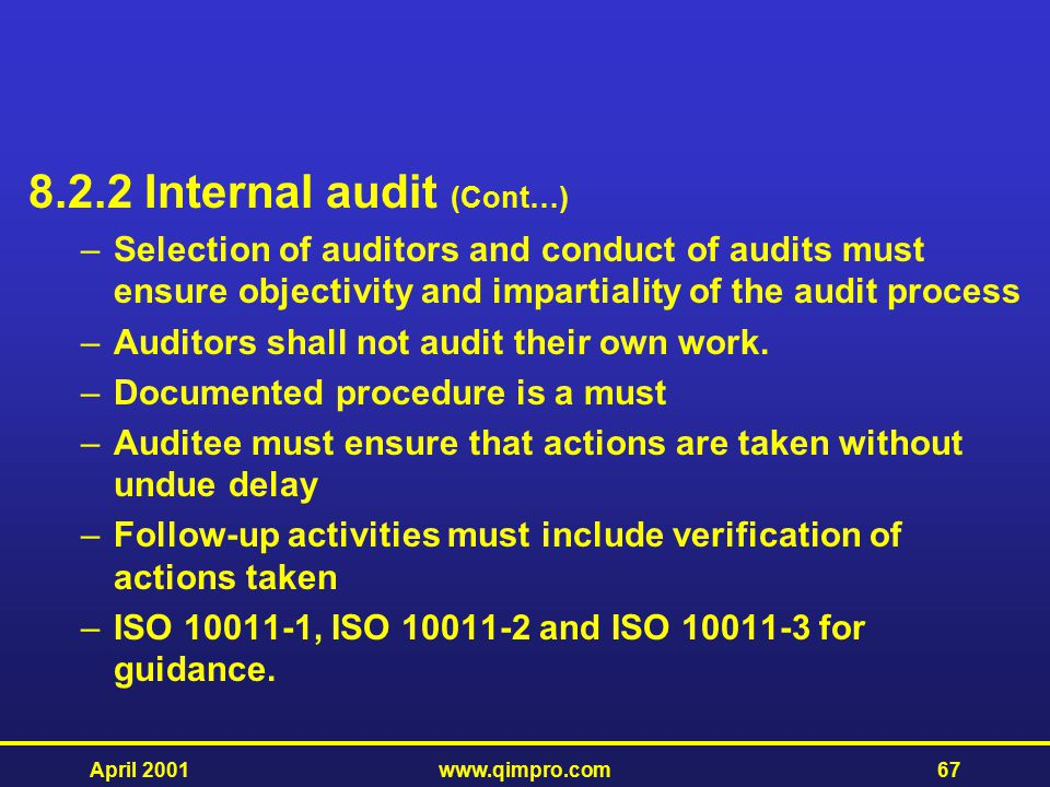 8.2.2 Internal audit (Cont…)