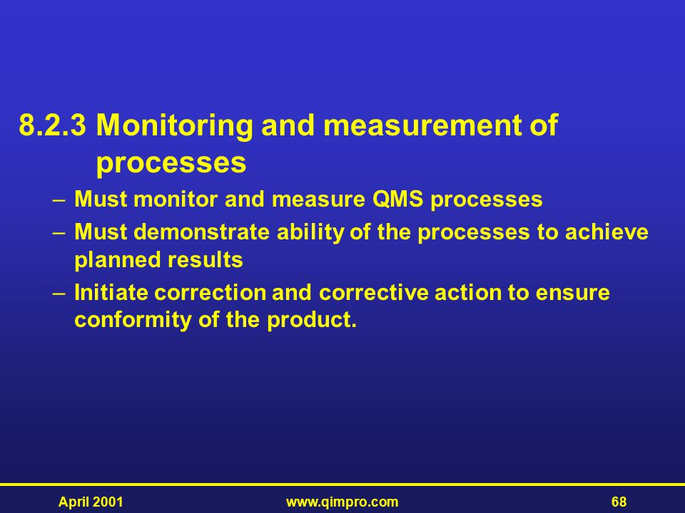 8.2.3 Monitoring and measurement of processes