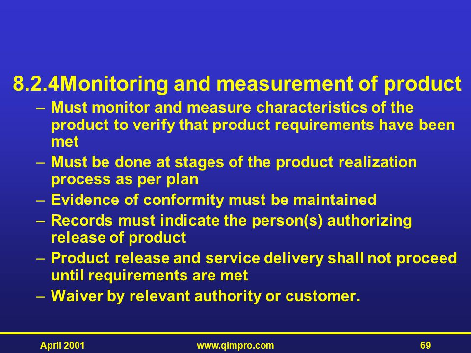 8.2.4 Monitoring and measurement of product