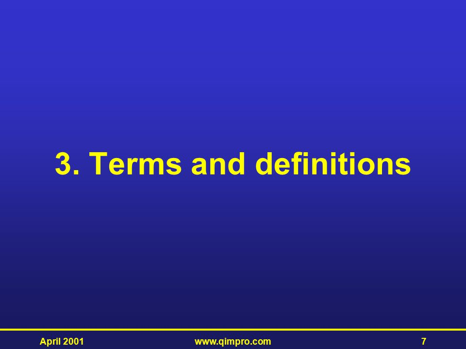 3. Terms and definitions April