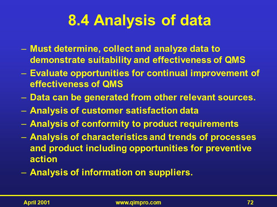 8.4 Analysis of data Must determine, collect and analyze data to demonstrate suitability and effectiveness of QMS.