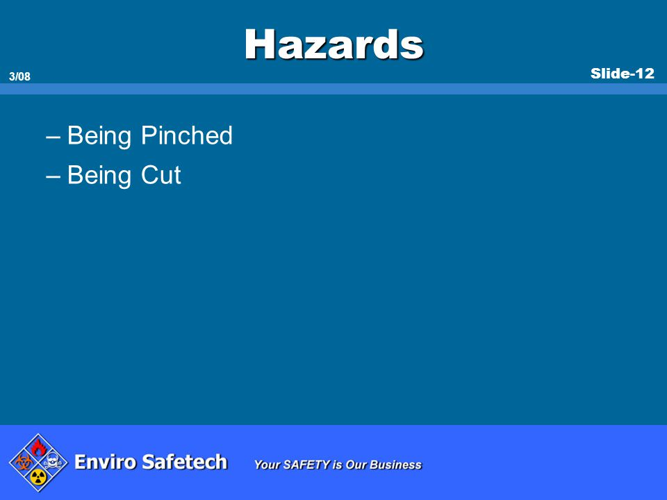 * 07/16/96 Hazards Being Pinched Being Cut *