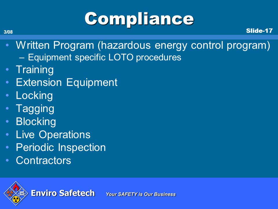 Compliance Written Program (hazardous energy control program) Training