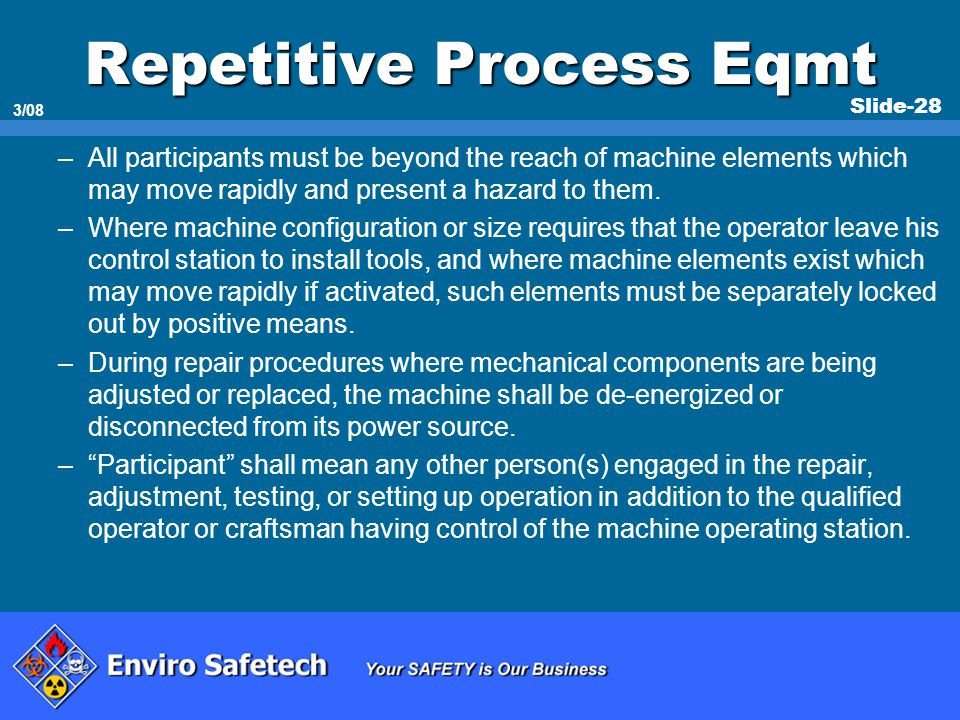 Repetitive Process Eqmt