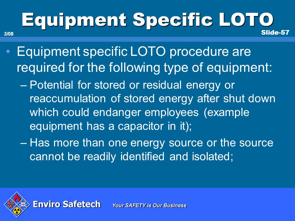 Equipment Specific LOTO