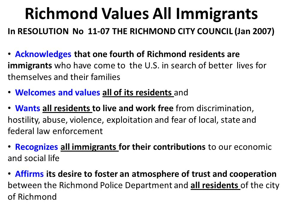 Richmond Values All Immigrants