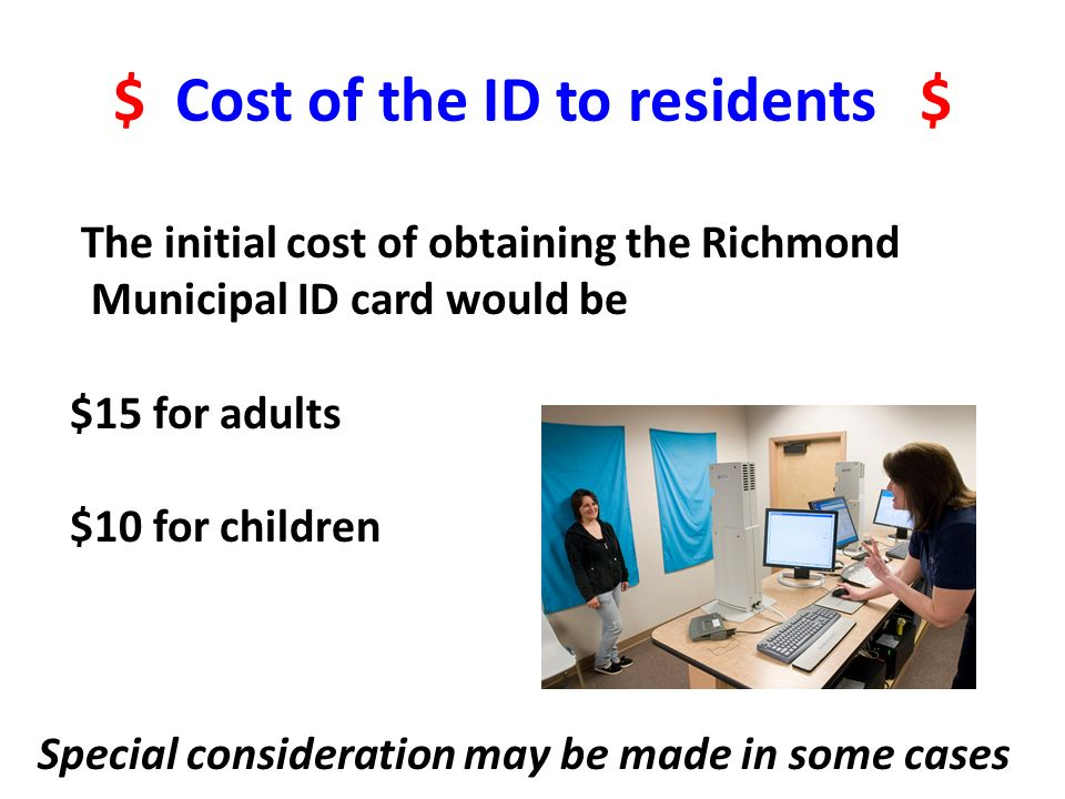 $ Cost of the ID to residents $