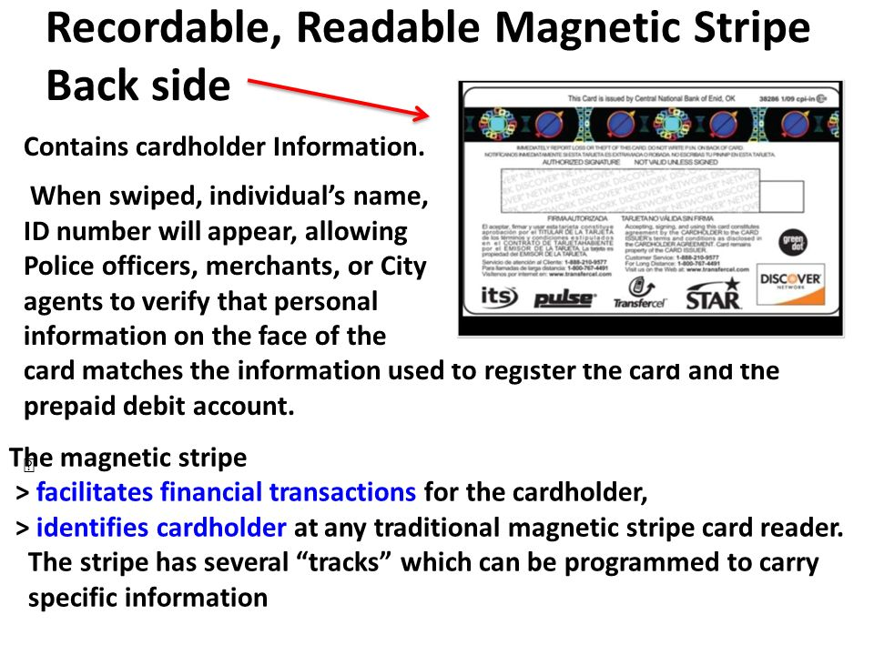 Recordable, Readable Magnetic Stripe Back side