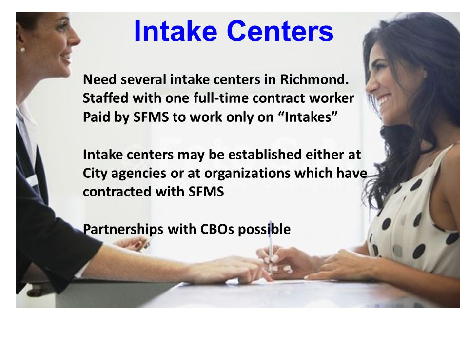 Intake Centers Need several intake centers in Richmond.