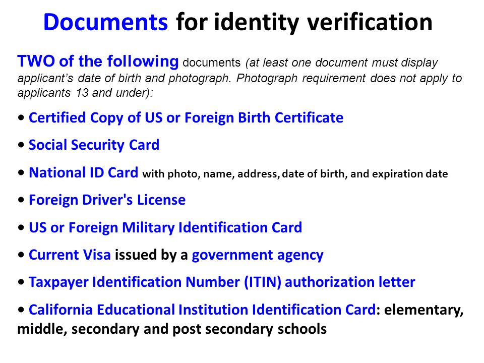 Documents for identity verification