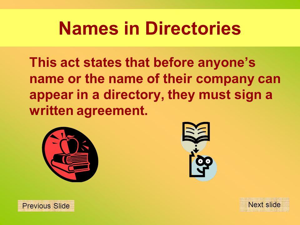 Names in Directories