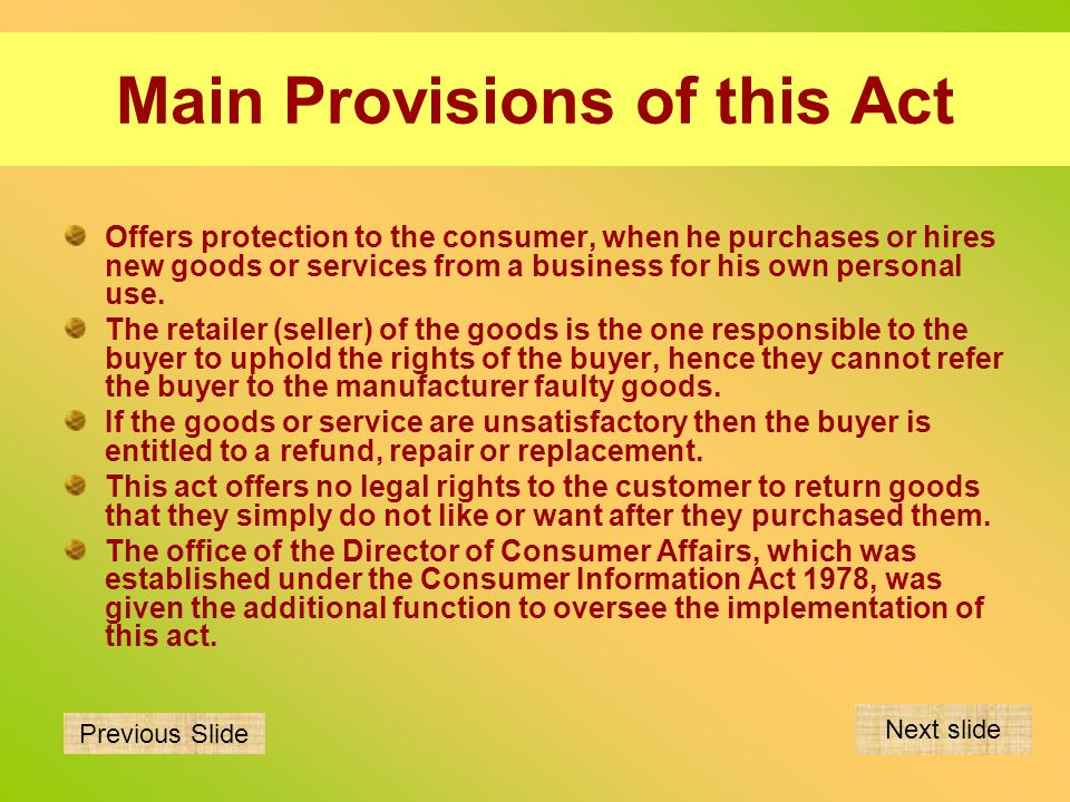 Main Provisions of this Act
