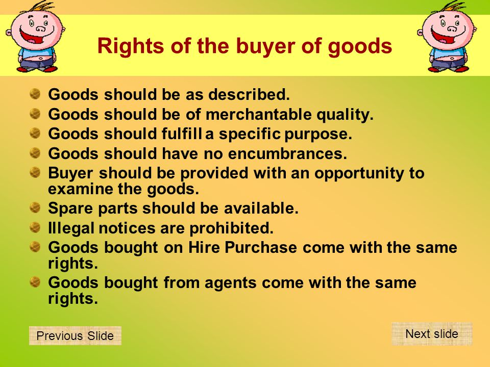 Rights of the buyer of goods