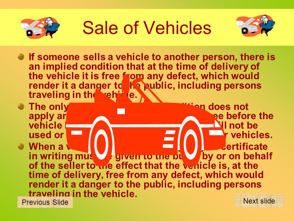 Sale of Vehicles