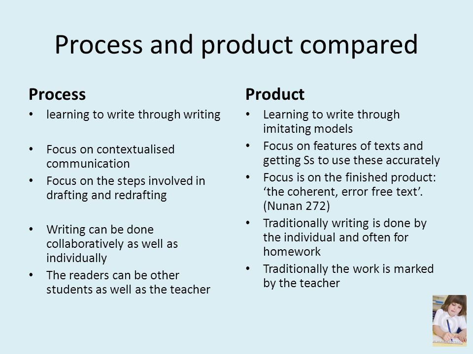 Process and product compared
