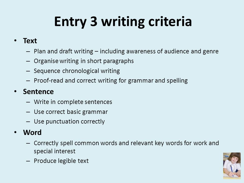Entry 3 writing criteria
