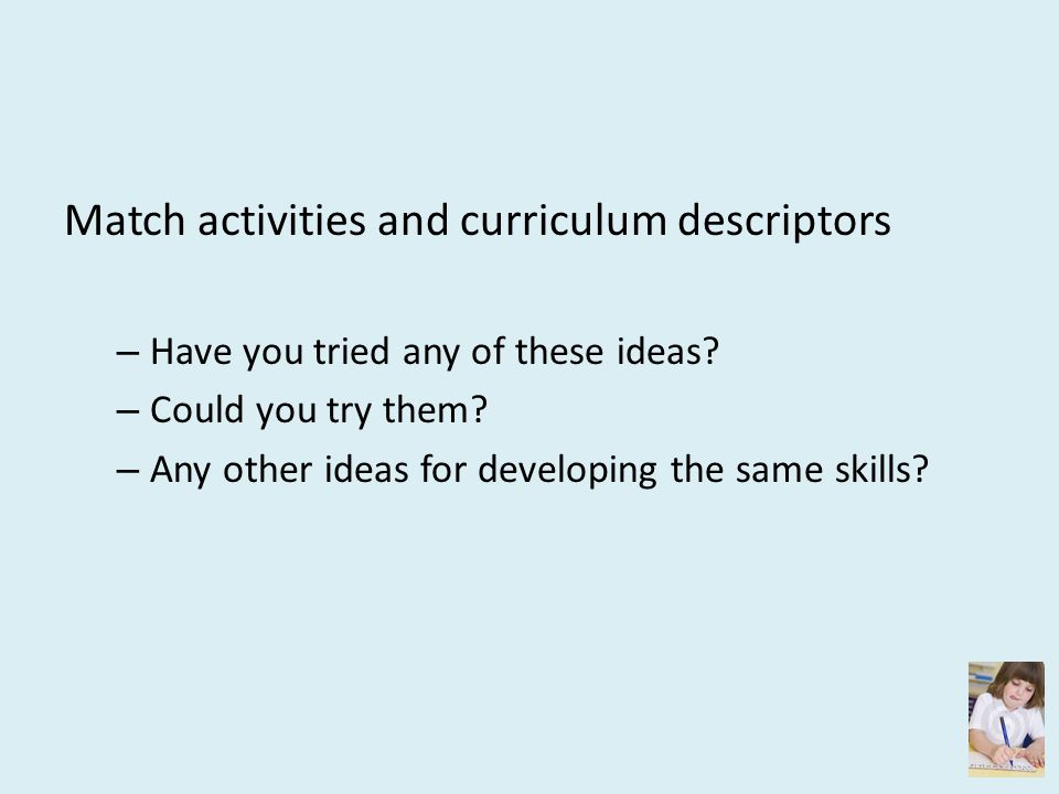 Match activities and curriculum descriptors