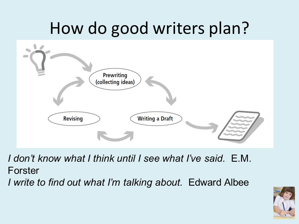 How do good writers plan