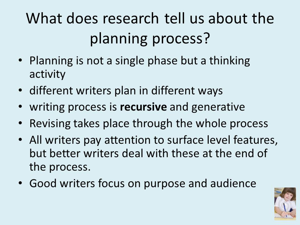 What does research tell us about the planning process