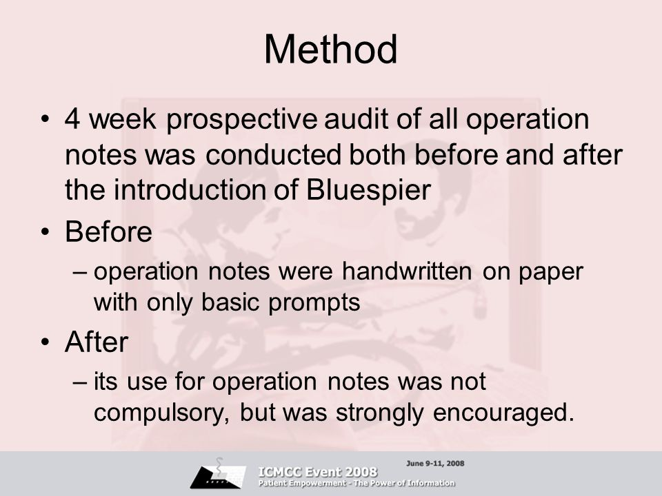 Method 4 week prospective audit of all operation notes was conducted both before and after the introduction of Bluespier.