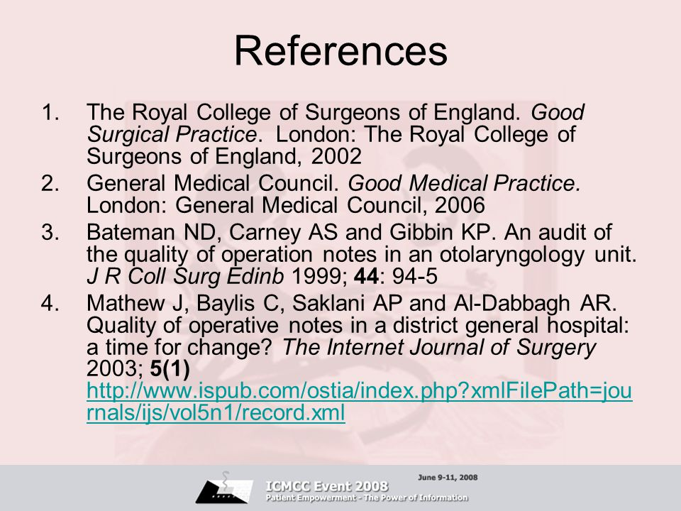References The Royal College of Surgeons of England. Good Surgical Practice. London: The Royal College of Surgeons of England, 2002.