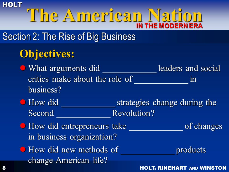 Objectives: Section 2: The Rise of Big Business