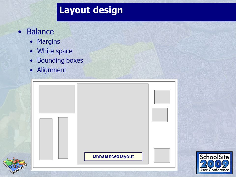 Layout design Balance Margins White space Bounding boxes Alignment