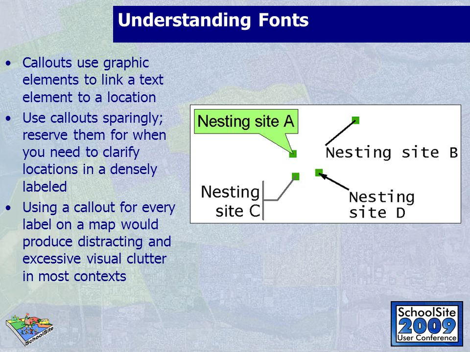 Understanding Fonts Callouts use graphic elements to link a text element to a location.