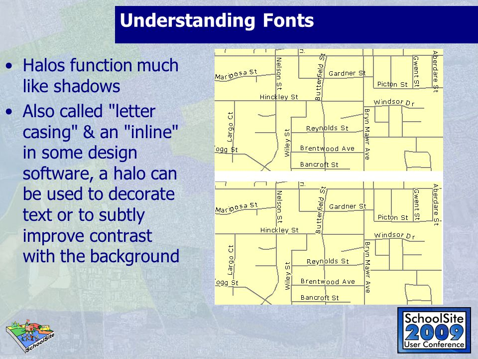 Understanding Fonts Halos function much like shadows