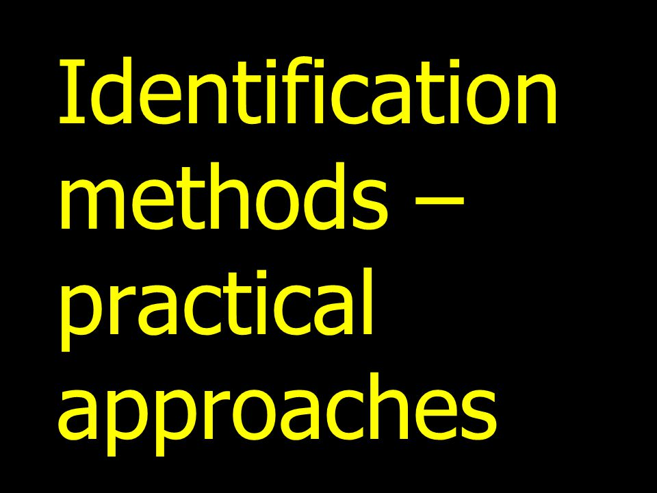 Identification methods – practical approaches