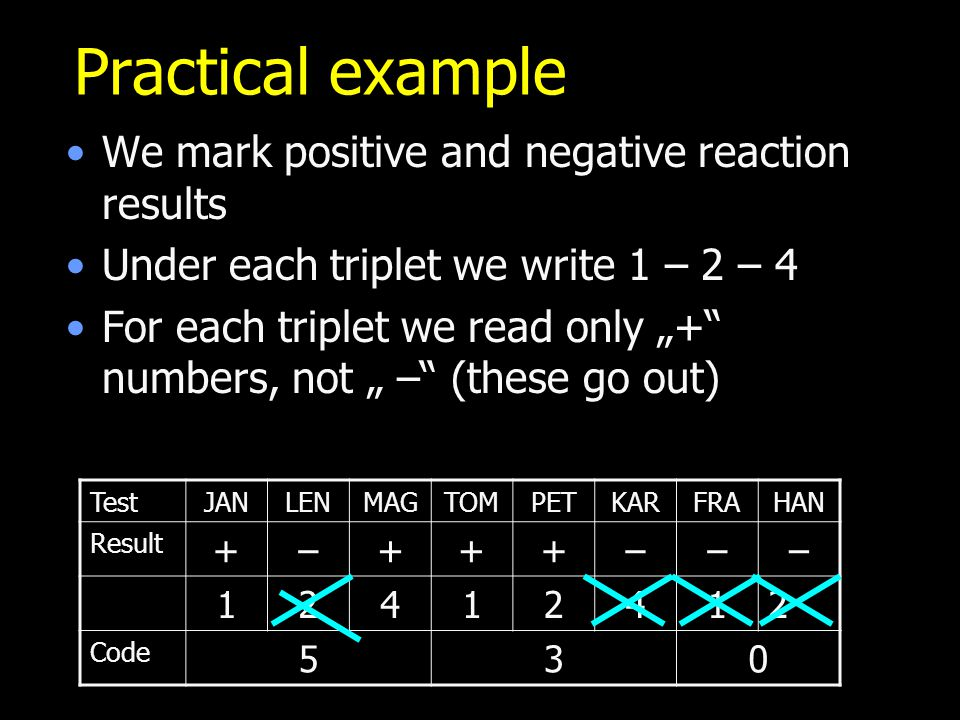 Practical example We mark positive and negative reaction results