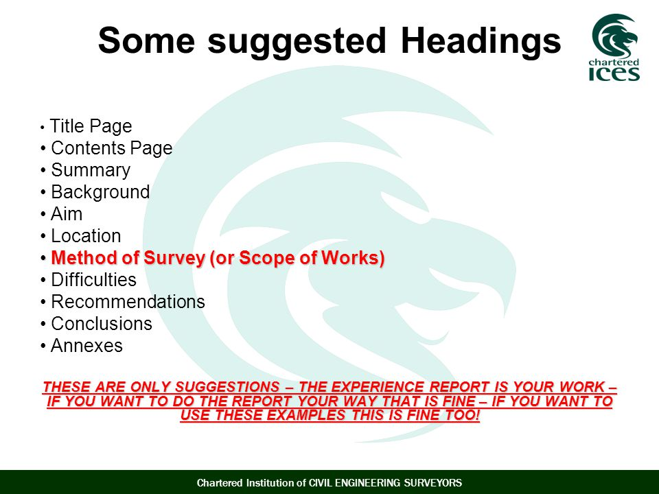 Some suggested Headings