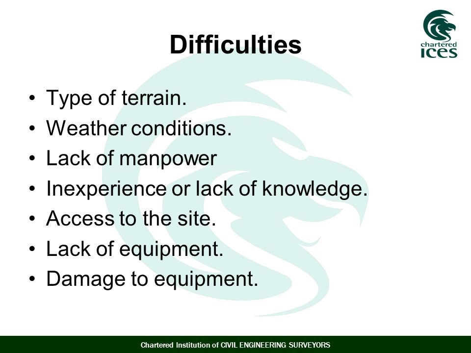 Difficulties Type of terrain. Weather conditions. Lack of manpower