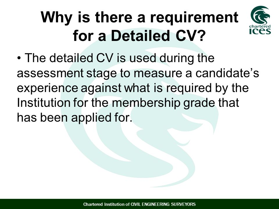 Why is there a requirement for a Detailed CV